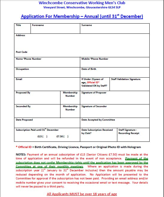Membership Application Form  Winchcombe Conservative WmS Club